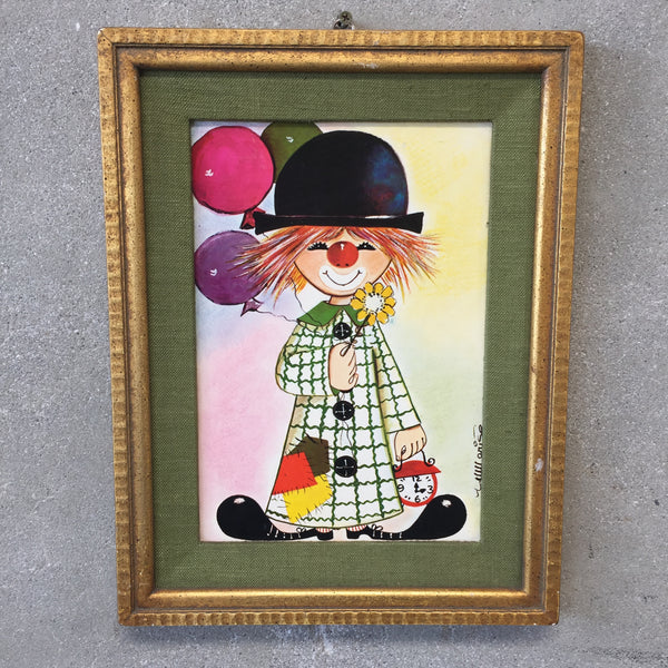 Child's Bedroom Clown Art Signed Marise
