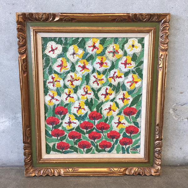 Vintage Mosaic Flower Wall Art