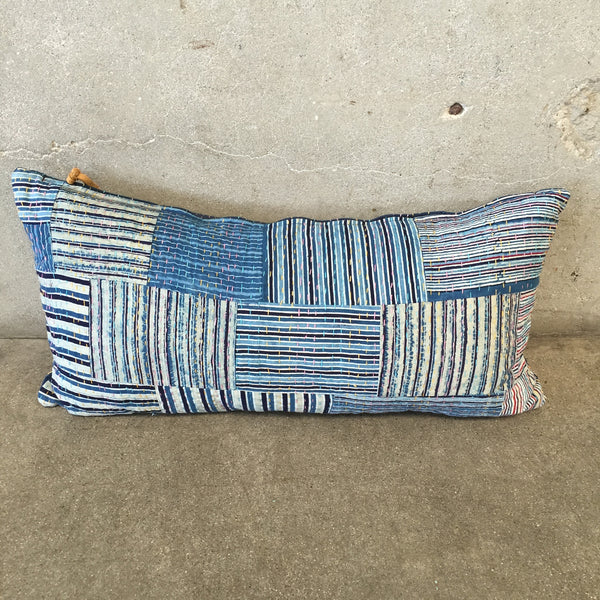 Kantha Lumbar Pillow with Feather Insert