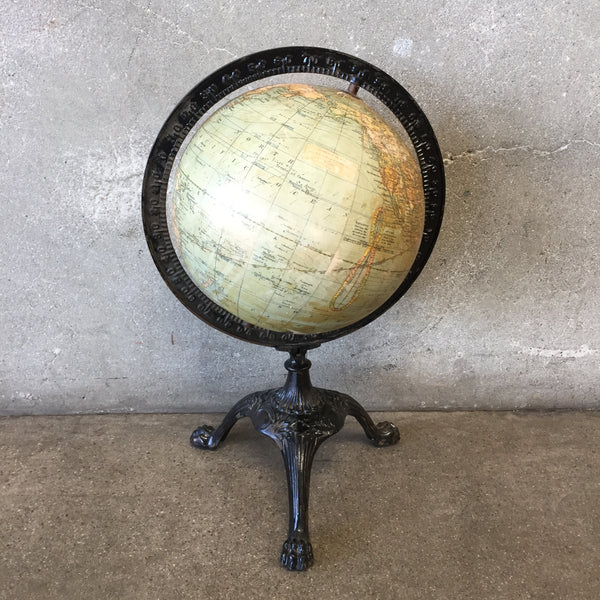 1920's World Globe with Cast Iron Feet