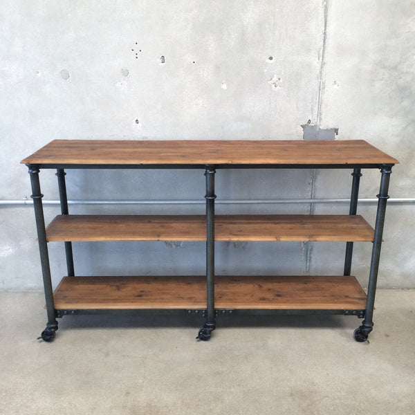 Rolling Metal Console with Wood Shelves