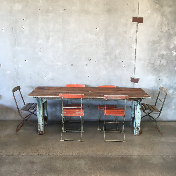 Vintage Farm Table with Six French Bistro Chairs