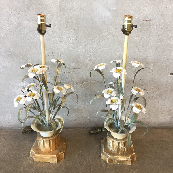 Pair of Vintage Daisy Lamps