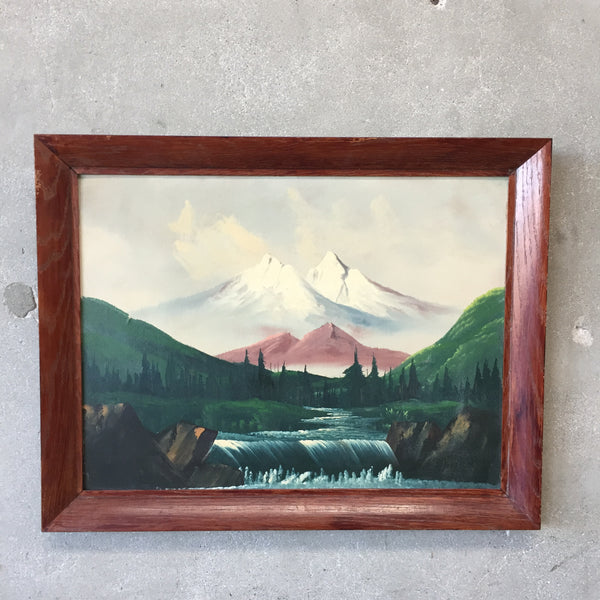 Vintage Framed Mountain Painting