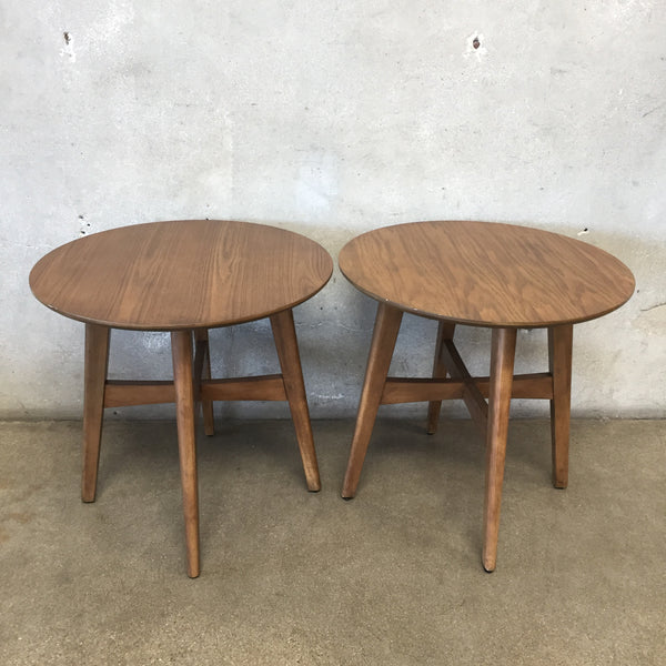 Pair Mid Century Style Round End Tables