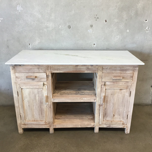 Teak Wood Island With Marble Top & Drawers
