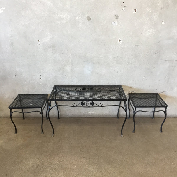 Set of Three Iron Patio Tables