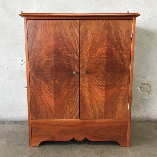 Vintage 1950's Solid Wood Walnut Cabinet with Drawers
