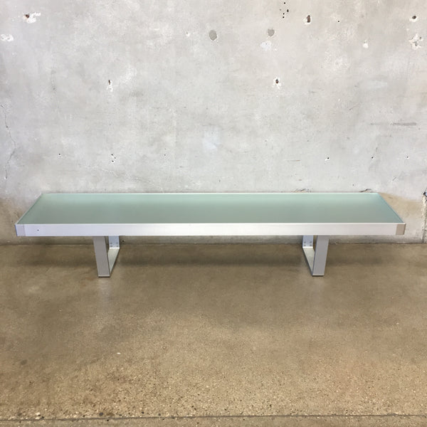 Aluminum Long Frosted Glass Coffee Table