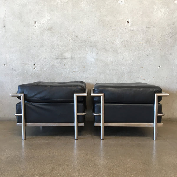 Mid Century Le Corbusier Style Leather Ottomans