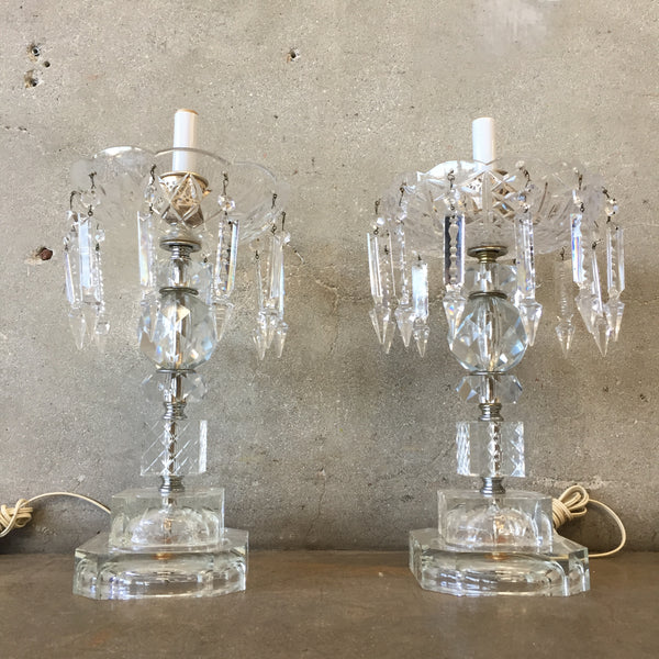 Pair of Vintage Crystal Table Lamps