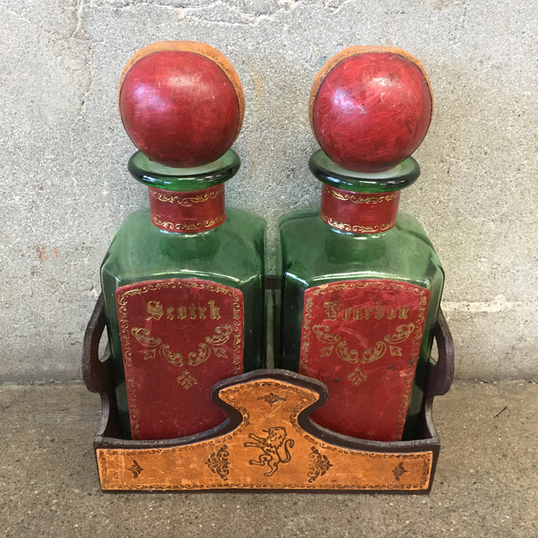 Vintage Italian Liquor Bottle Decanter Set Leather Wrapped Embossed Gold