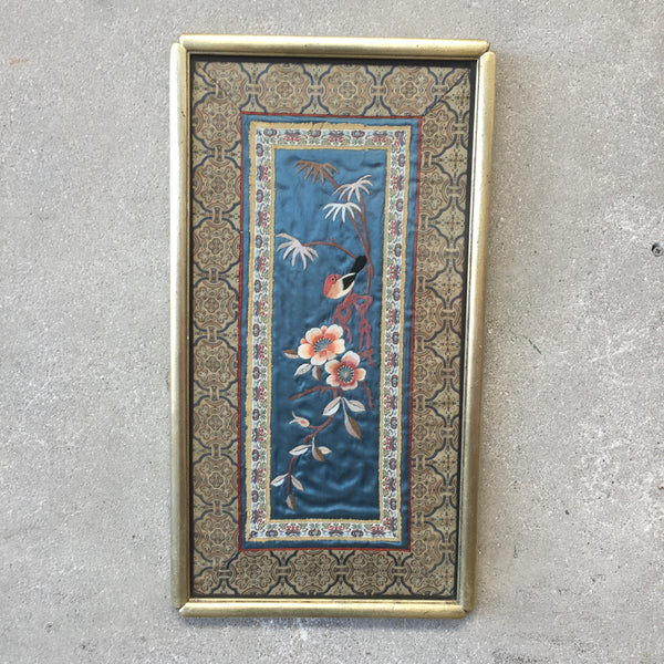 Vintage Chinese Silk Embroidery Bird Wall Tapestry