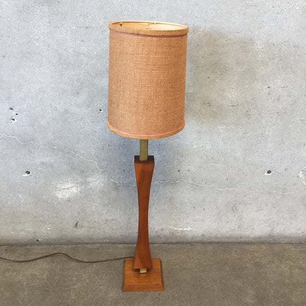 Mid Century Wood and Brass Lamp