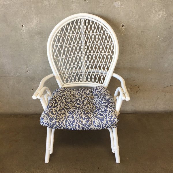 White Bamboo Chair with Cushion
