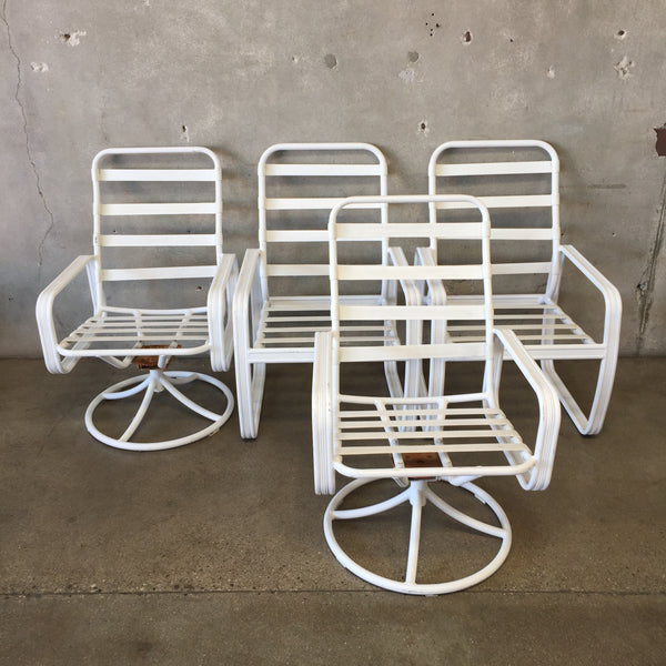 Set of Four White Tropitone Metal Patio Chairs