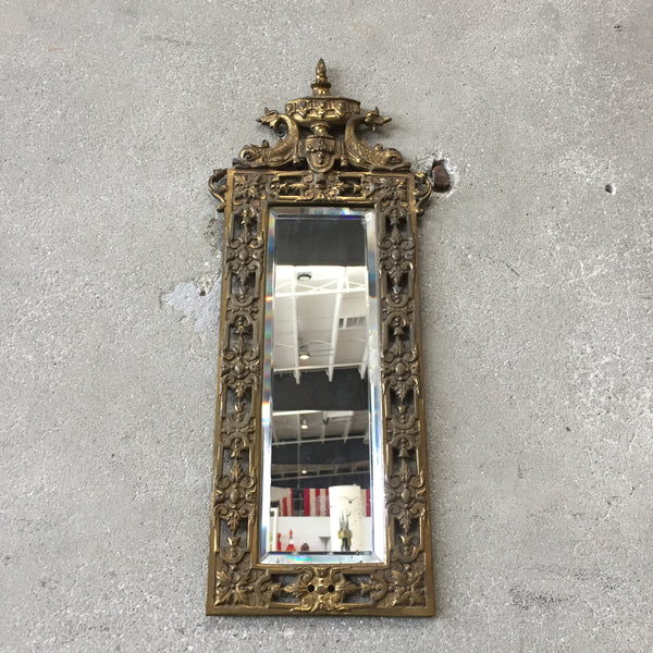 Antique Small Brass Mirror