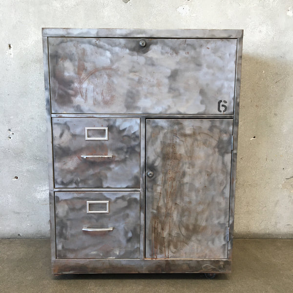 Mid Century Retro Industrial Desk File Cabinet with Key