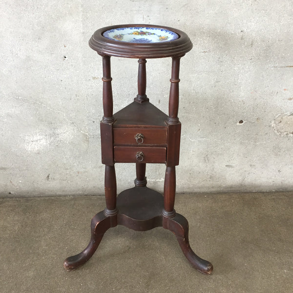 Vintage Mahogany Stand With Painted Plate