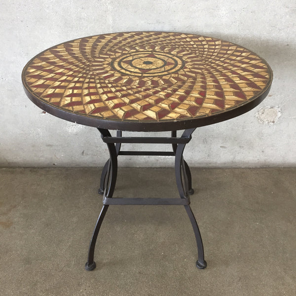 Mid Century Cast Iron Mosaic Top Table