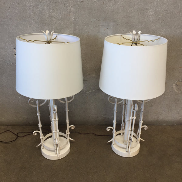 Pair Mid Century Pair Bamboo Style French Table Lamps