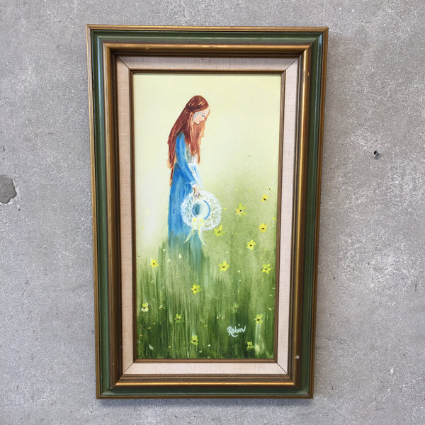 Framed Painting of Girl in a Blue Dress