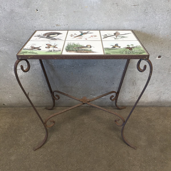 Vintage Tile Top Table - Fowl