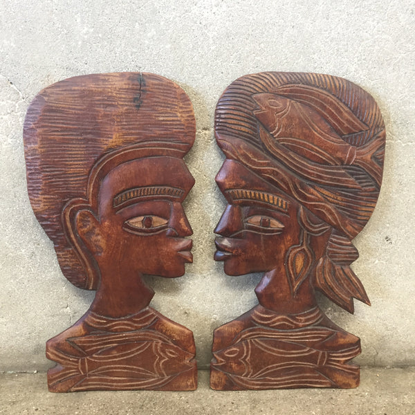 Vintage Wood Carved Face Profiles