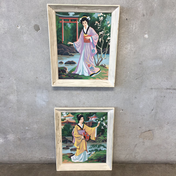 Pair of Paintings of Asian Women by Numbers