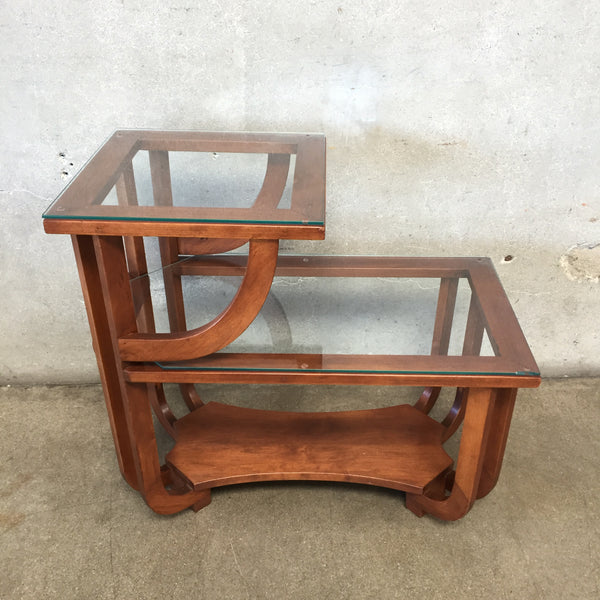 Mid Century Side Table with Glass