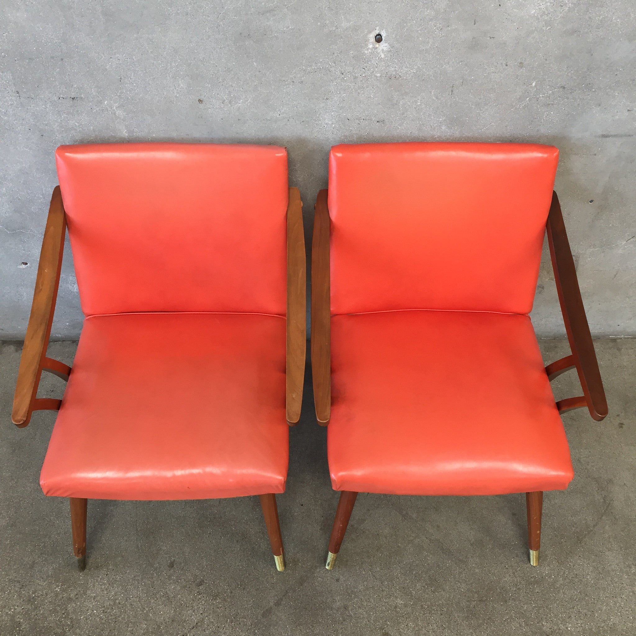 Pair of Vintage Mid Century Murphy Miller Orange Chairs