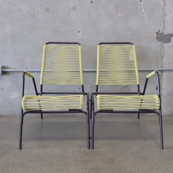 Pair of Mid Century Green Patio Chairs