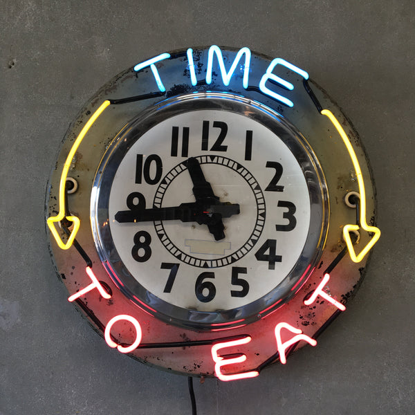 "Vintage ""Time to Eat"" Neon Clock"