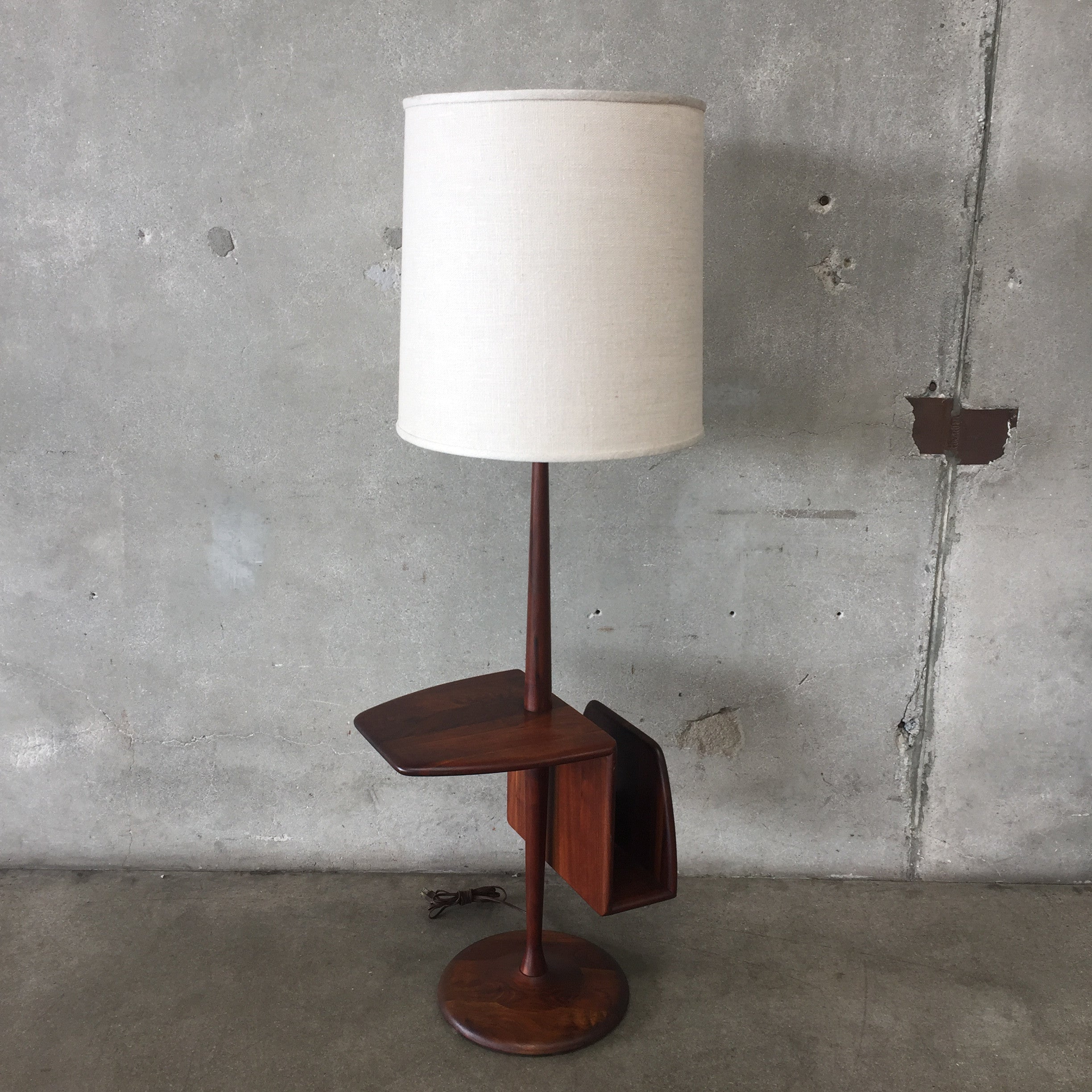 Mid century modern laurel floor lamp with table and magazine holder aloadofball Gallery
