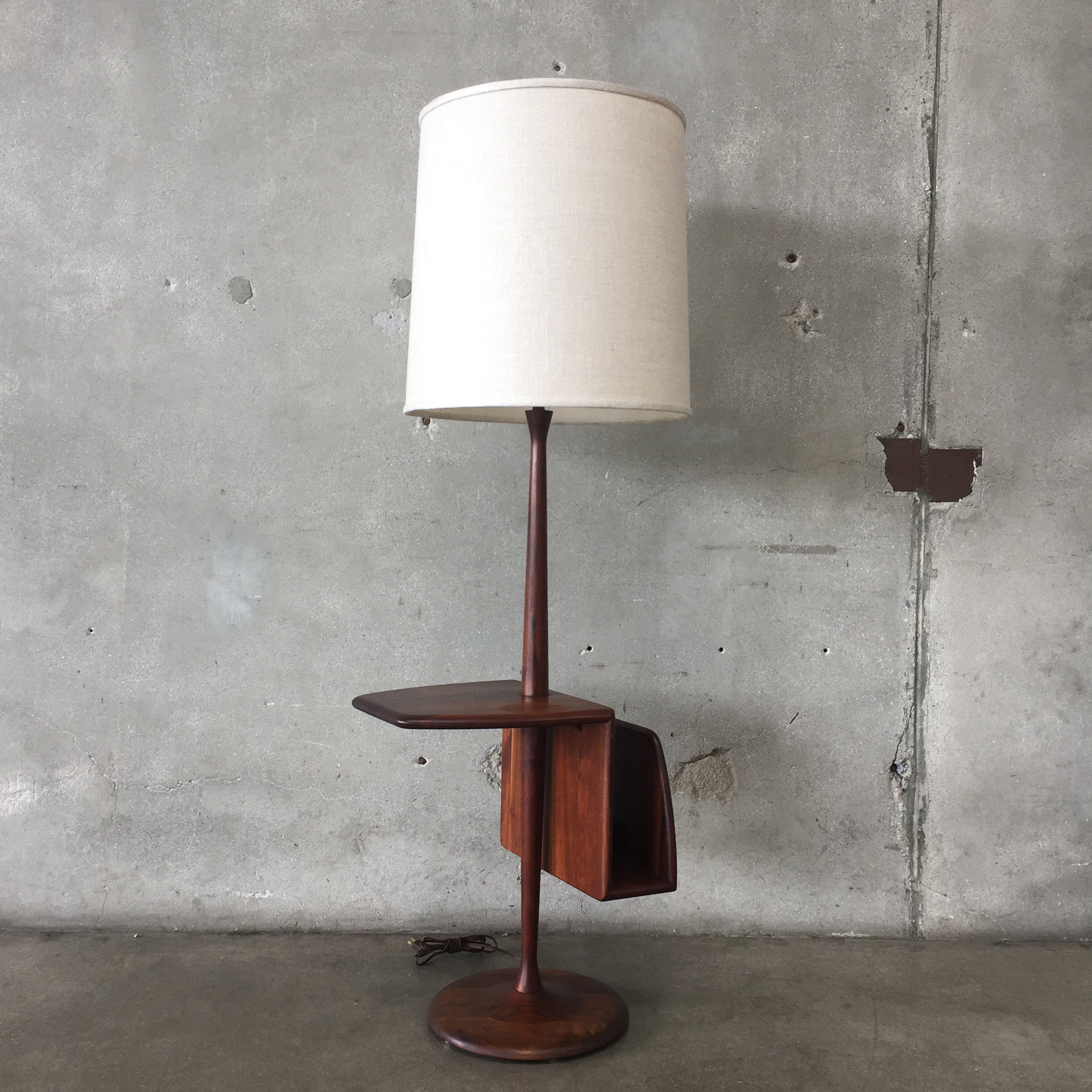 Mid century modern laurel floor lamp with table and magazine mid century modern laurel floor lamp with table and magazine holder mozeypictures Images