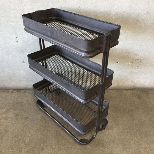 Three Tier Industrial Mesh Metal Cart On Wheels