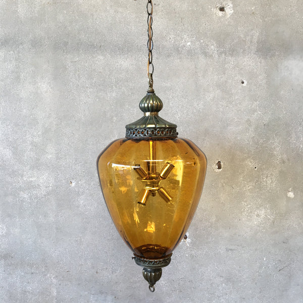 Vintage Mid Century Gold Glass Hanging Lamp