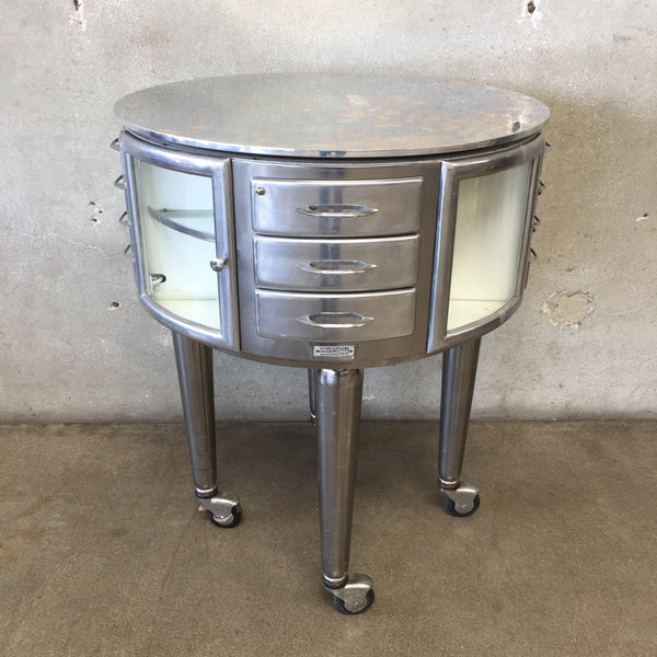 1940's French Girator Rotating Steel Dental Cabinet