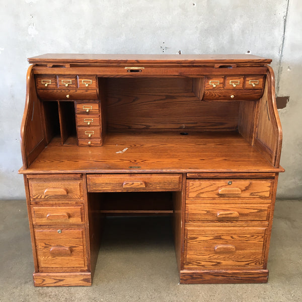 Vintage Solid Oak Roll Top Desk by Winners Only Inc. - HOLD