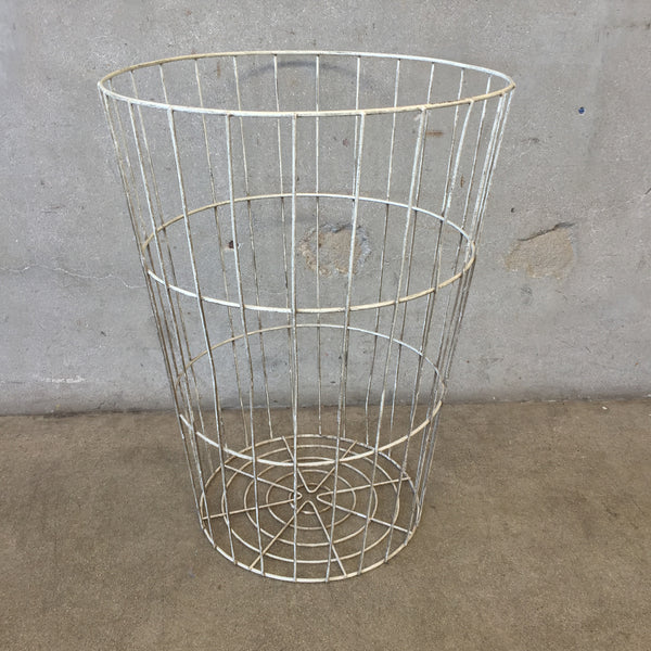 White Tall Standing Basket