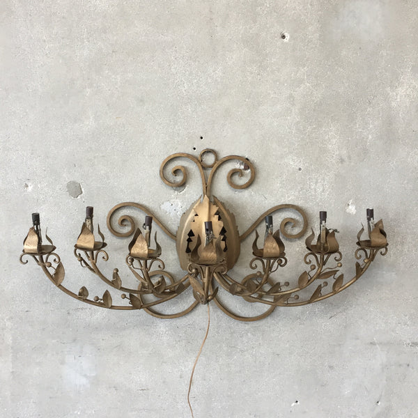 Vintage Gold Metal Wall Chandelier