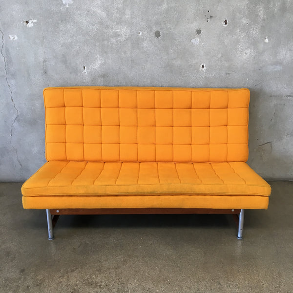 Mid Century Walnut & Steel Slipper Sofa
