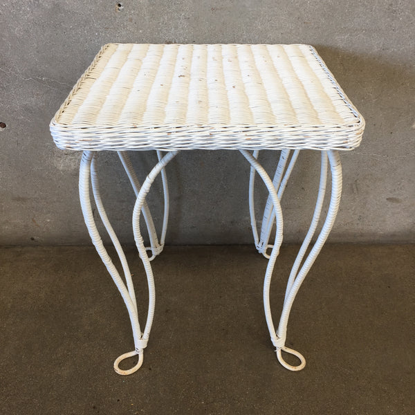 Vintage Small White Wicker Table