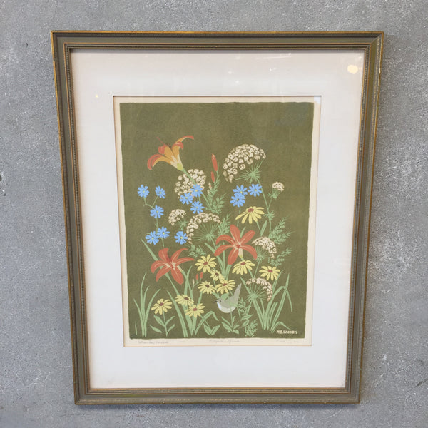 "Vintage Signed MB Woods ""Fragile Garden"""