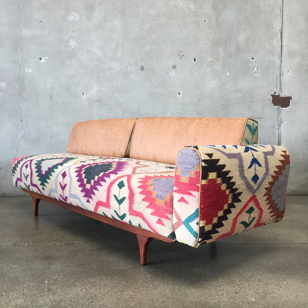 Mid Century Daybed in Antique Kilim