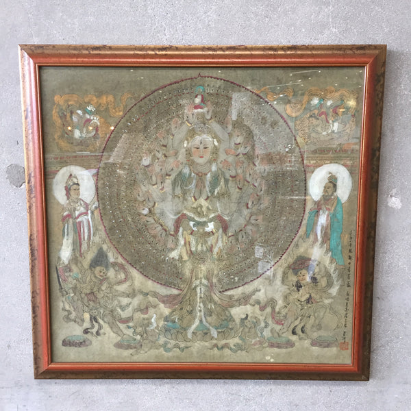 Mid Century Modern Hand Colored Tibetan Piece Signed