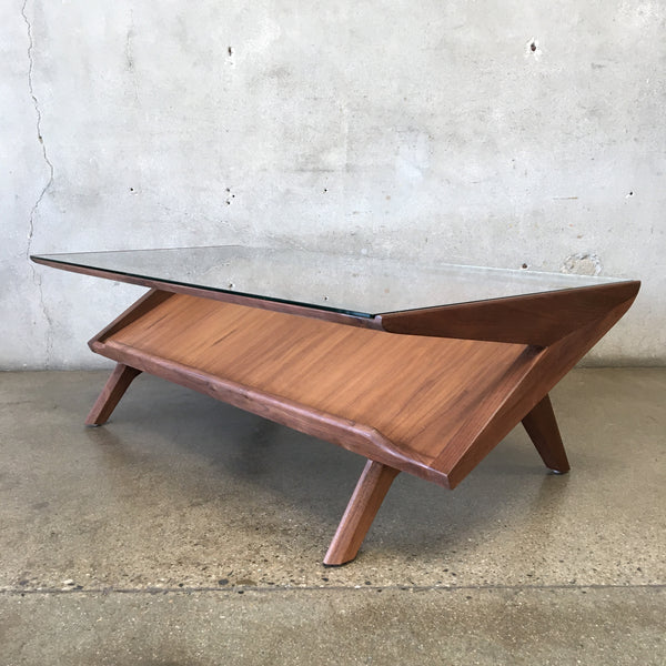 Mid Century Brown Saltman Style Z Coffee Table