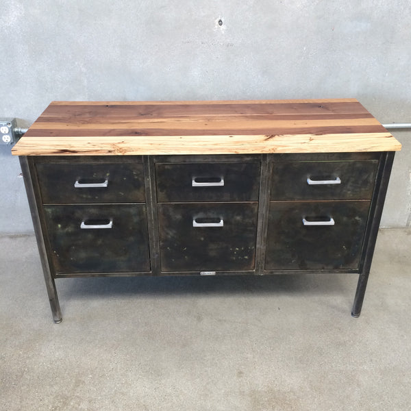 Metal Console with Wood Top