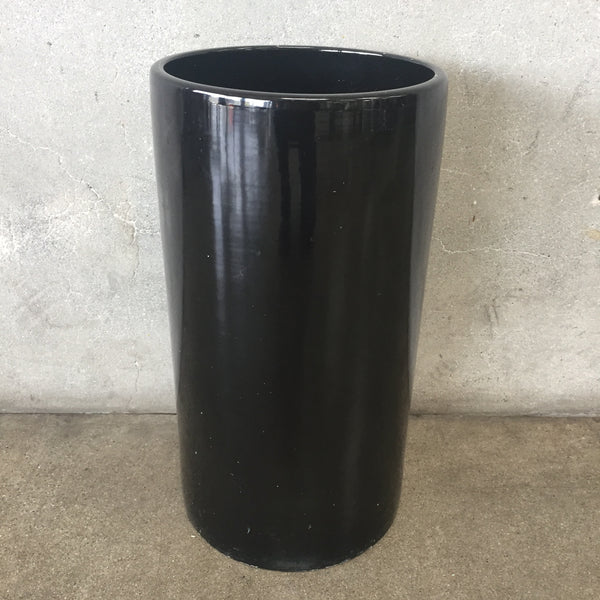 Tall Mid Century Black US Pottery Planter