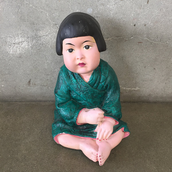 Large Vintage Asian Chalkware Figure Of A Child